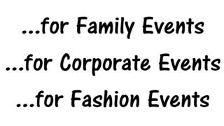 Photography services, including Family Events, Corporate Events, and Fashion Events.